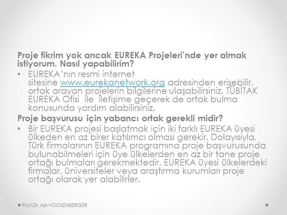 Proje fikrim yok ancak EUREKA Projeleri'nde yer almak istiyorum.