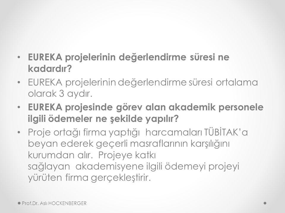 EUREKA projelerinin değerlendirme süresi ne kadardır.