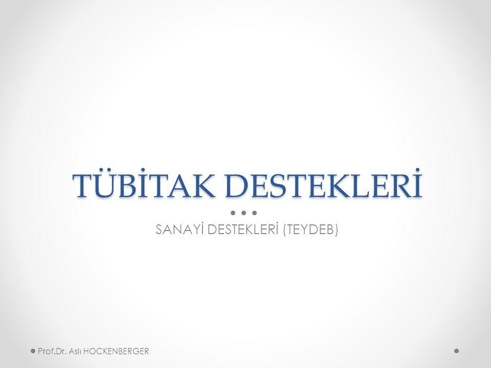TÜBİTAK DESTEKLERİ SANAYİ DESTEKLERİ (TEYDEB) Prof.Dr. Aslı HOCKENBERGER