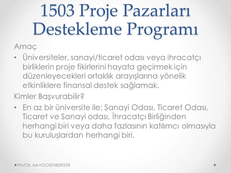 1503 Proje Pazarları Destekleme Programı Amaç Üniversiteler, sanayi/ticaret odası veya ihracatçı birliklerin proje fikirlerini hayata geçirmek için düzenleyecekleri ortaklık arayışlarına yönelik etkinliklere finansal destek sağlamak.