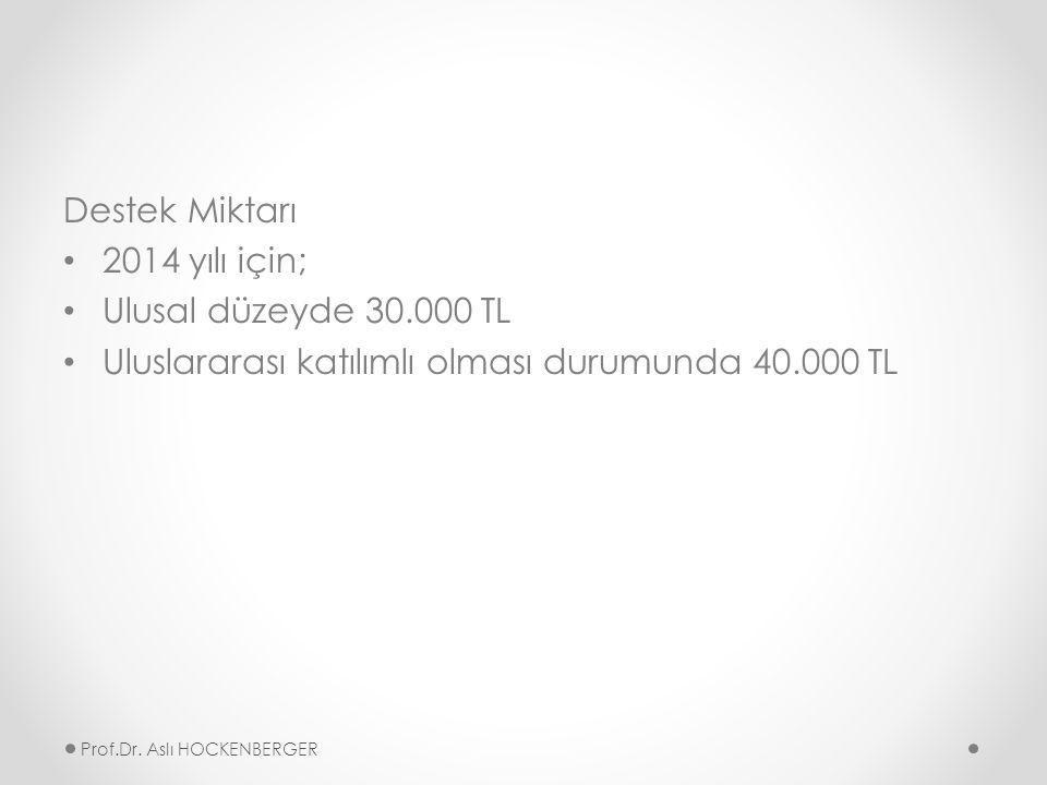 Destek Miktarı 2014 yılı için; Ulusal düzeyde 30.000 TL Uluslararası katılımlı olması durumunda 40.000 TL Prof.Dr.