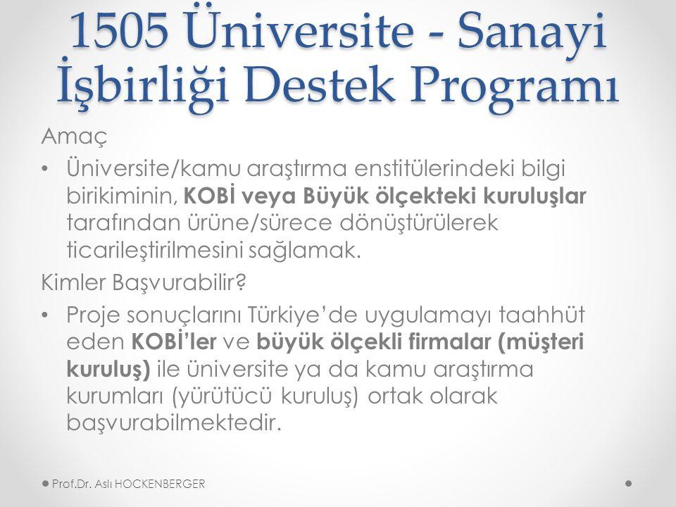 1505 Üniversite - Sanayi İşbirliği Destek Programı Amaç Üniversite/kamu araştırma enstitülerindeki bilgi birikiminin, KOBİ veya Büyük ölçekteki kuruluşlar tarafından ürüne/sürece dönüştürülerek ticarileştirilmesini sağlamak.