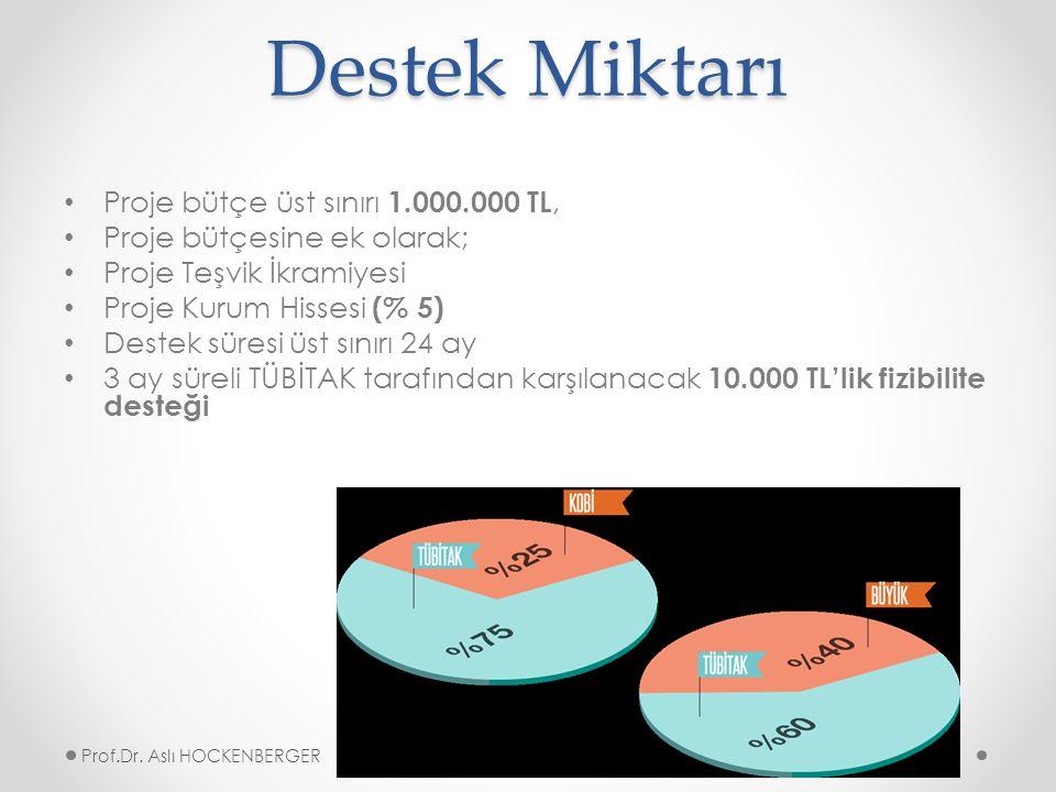 Destek Miktarı Proje bütçe üst sınırı 1.000.000 TL, Proje bütçesine ek olarak; Proje Teşvik İkramiyesi Proje Kurum Hissesi (% 5) Destek süresi üst sınırı 24 ay 3 ay süreli TÜBİTAK tarafından karşılanacak 10.000 TL'lik fizibilite desteği Prof.Dr.
