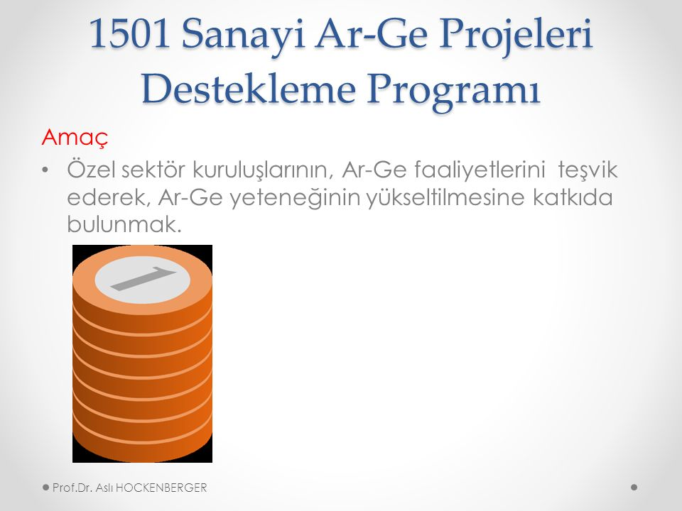 1501 Sanayi Ar-Ge Projeleri Destekleme Programı Amaç Özel sektör kuruluşlarının, Ar-Ge faaliyetlerini teşvik ederek, Ar-Ge yeteneğinin yükseltilmesine katkıda bulunmak.