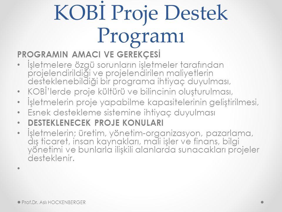 KOBİ Proje Destek Programı PROGRAMIN AMACI VE GEREKÇESİ İşletmelere özgü sorunların işletmeler tarafından projelendirildiği ve projelendirilen maliyetlerin desteklenebildiği bir programa ihtiyaç duyulması, KOBİ'lerde proje kültürü ve bilincinin oluşturulması, İşletmelerin proje yapabilme kapasitelerinin geliştirilmesi, Esnek destekleme sistemine ihtiyaç duyulması DESTEKLENECEK PROJE KONULARI İşletmelerin; üretim, yönetim-organizasyon, pazarlama, dış ticaret, insan kaynakları, mali işler ve finans, bilgi yönetimi ve bunlarla ilişkili alanlarda sunacakları projeler desteklenir.