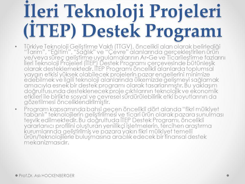 İleri Teknoloji Projeleri (İTEP) Destek Programı Türkiye Teknoloji Geliştirme Vakfı (TTGV), öncelikli alan olarak belirlediği Tarım , Eğitim , Sağlık ve Çevre alanlarında gerçekleştirilen ürün ve/veya süreç geliştirme uygulamalarının Ar-Ge ve Ticarileştirme fazlarını İleri Teknoloji Projeleri (İTEP) Destek Programı çerçevesinde bütünleşik olarak desteklemektedir.
