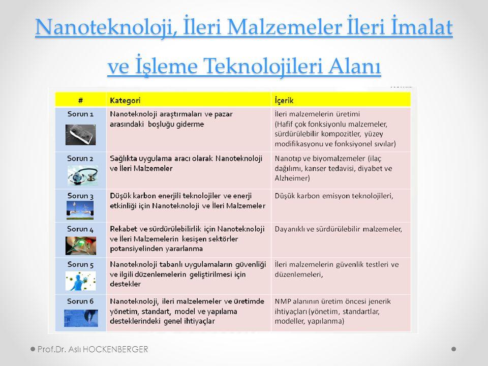 Nanoteknoloji, İleri Malzemeler İleri İmalat ve İşleme Teknolojileri Alanı Nanoteknoloji, İleri Malzemeler İleri İmalat ve İşleme Teknolojileri Alanı Prof.Dr.