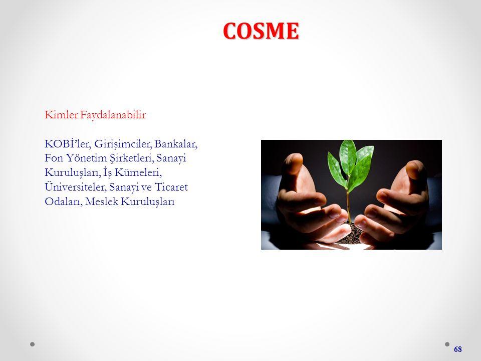 COSME 68 Kimler Faydalanabilir KOBİ'ler, Girişimciler, Bankalar, Fon Yönetim Şirketleri, Sanayi Kuruluşları, İş Kümeleri, Üniversiteler, Sanayi ve Ticaret Odaları, Meslek Kuruluşları