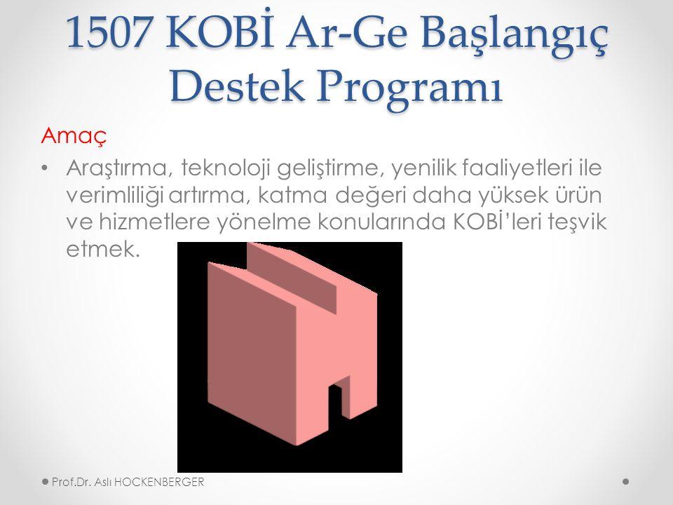 1507 KOBİ Ar-Ge Başlangıç Destek Programı Amaç Araştırma, teknoloji geliştirme, yenilik faaliyetleri ile verimliliği artırma, katma değeri daha yüksek ürün ve hizmetlere yönelme konularında KOBİ'leri teşvik etmek.