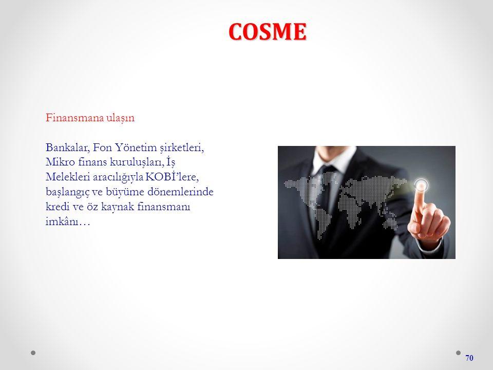 COSME 70 Finansmana ulaşın Bankalar, Fon Yönetim şirketleri, Mikro finans kuruluşları, İş Melekleri aracılığıyla KOBİ'lere, başlangıç ve büyüme dönemlerinde kredi ve öz kaynak finansmanı imkânı…