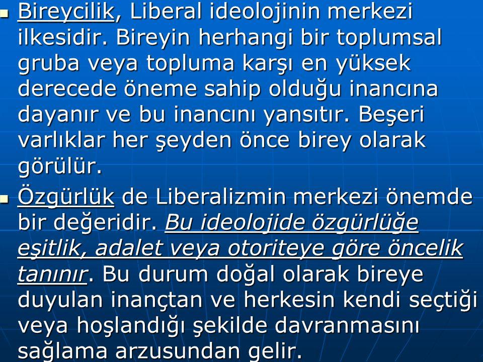 Bireycilik, Liberal ideolojinin merkezi ilkesidir.