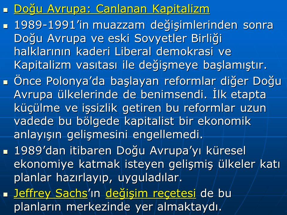 Doğu Avrupa: Canlanan Kapitalizm Doğu Avrupa: Canlanan Kapitalizm 1989-1991'in muazzam değişimlerinden sonra Doğu Avrupa ve eski Sovyetler Birliği halklarının kaderi Liberal demokrasi ve Kapitalizm vasıtası ile değişmeye başlamıştır.
