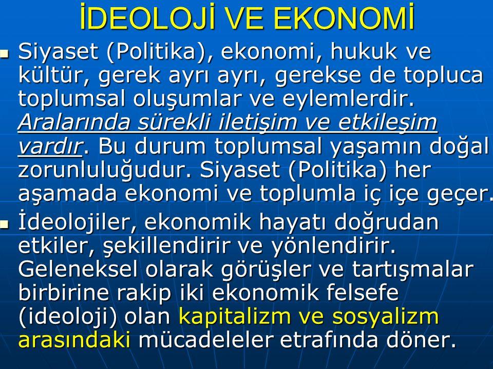 İDEOLOJİ VE EKONOMİ Siyaset (Politika), ekonomi, hukuk ve kültür, gerek ayrı ayrı, gerekse de topluca toplumsal oluşumlar ve eylemlerdir.