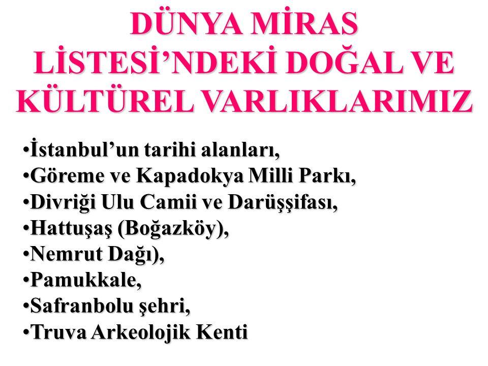 DÜNYA MİRAS LİSTESİ'NDEKİ DOĞAL VE KÜLTÜREL VARLIKLARIMIZ İstanbul'un tarihi alanları,İstanbul'un tarihi alanları, Göreme ve Kapadokya Milli Parkı,Göreme ve Kapadokya Milli Parkı, Divriği Ulu Camii ve Darüşşifası,Divriği Ulu Camii ve Darüşşifası, Hattuşaş (Boğazköy),Hattuşaş (Boğazköy), Nemrut Dağı),Nemrut Dağı), Pamukkale,Pamukkale, Safranbolu şehri,Safranbolu şehri, Truva Arkeolojik KentiTruva Arkeolojik Kenti