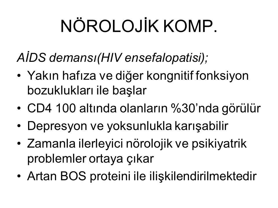 NÖROLOJİK KOMP. AİDS demansı(HIV ensefalopatisi); Yakın hafıza ve diğer kongnitif fonksiyon bozuklukları ile başlar CD4 100 altında olanların %30'nda