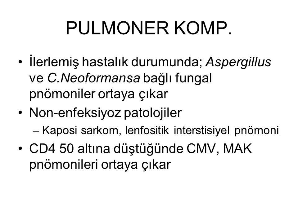 PULMONER KOMP. İlerlemiş hastalık durumunda; Aspergillus ve C.Neoformansa bağlı fungal pnömoniler ortaya çıkar Non-enfeksiyoz patolojiler –Kaposi sark