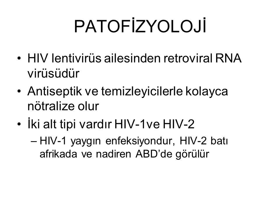 PATOFİZYOLOJİ HIV virüsü başta CD4 T lenfositler olmak üzere tüm immünite hücrelerine saldırır İçerdiği reverstranskriptaz ile konak DNAsına penetre olur ve çoğalır Lenfopeni, CD4 lenfosit disfonksiyonu ve otoimmünite gelişir Zaman içinde fırsatçı enfeksiyonlar ortaya çıkar
