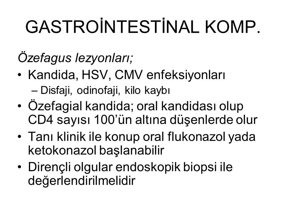 GASTROİNTESTİNAL KOMP. Özefagus lezyonları; Kandida, HSV, CMV enfeksiyonları –Disfaji, odinofaji, kilo kaybı Özefagial kandida; oral kandidası olup CD
