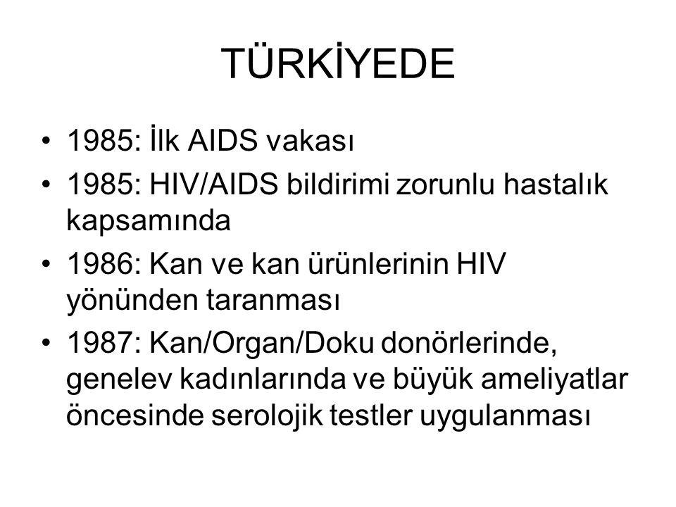TÜRKİYEDE 1994: HIV/AIDS kodlu bildirim uygulanması 1995: Yeşil kart uygulamasının başlaması 1996: Antiretroviral tedavi geri ödemesine geçilmesi 1996: Ulusal AIDS Komisyonunun kurulması 2006-07: Küresel Fon Çalışmaları