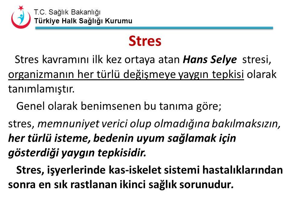 T.C. Sağlık Bakanlığı Türkiye Halk Sağlığı Kurumu Stres Stres kavramını ilk kez ortaya atan Hans Selye stresi, organizmanın her türlü değişmeye yaygın