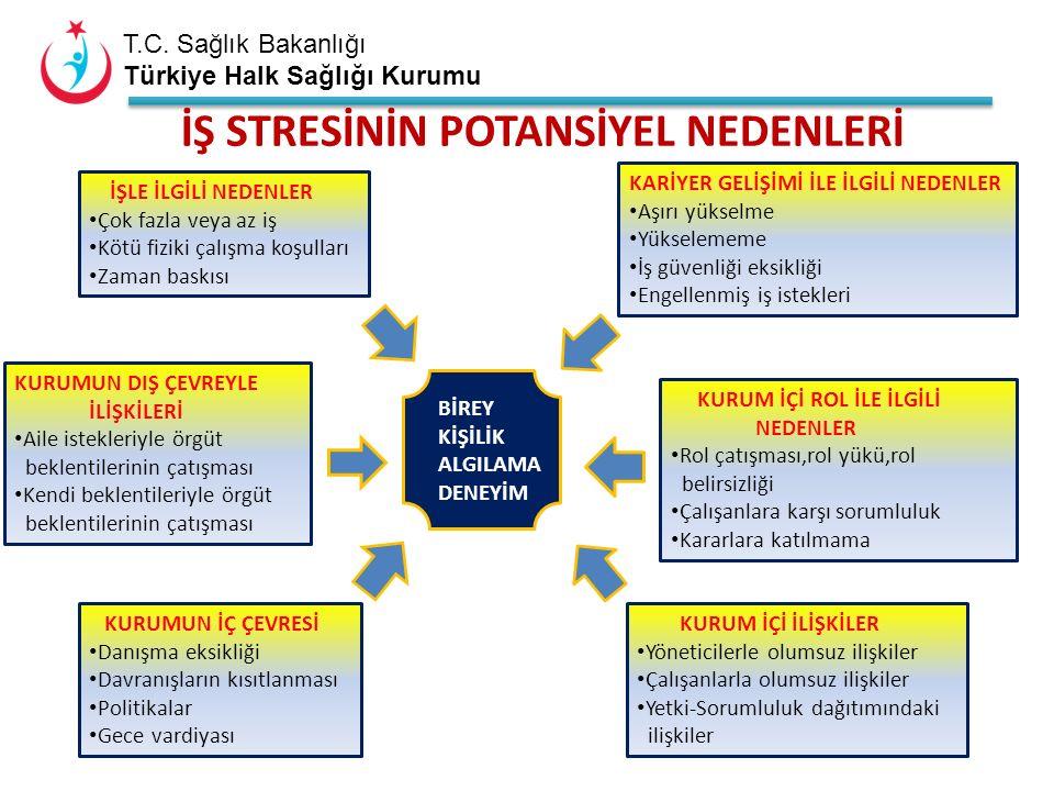 T.C. Sağlık Bakanlığı Türkiye Halk Sağlığı Kurumu İŞLE İLGİLİ NEDENLER Çok fazla veya az iş Kötü fiziki çalışma koşulları Zaman baskısı KURUMUN DIŞ ÇE