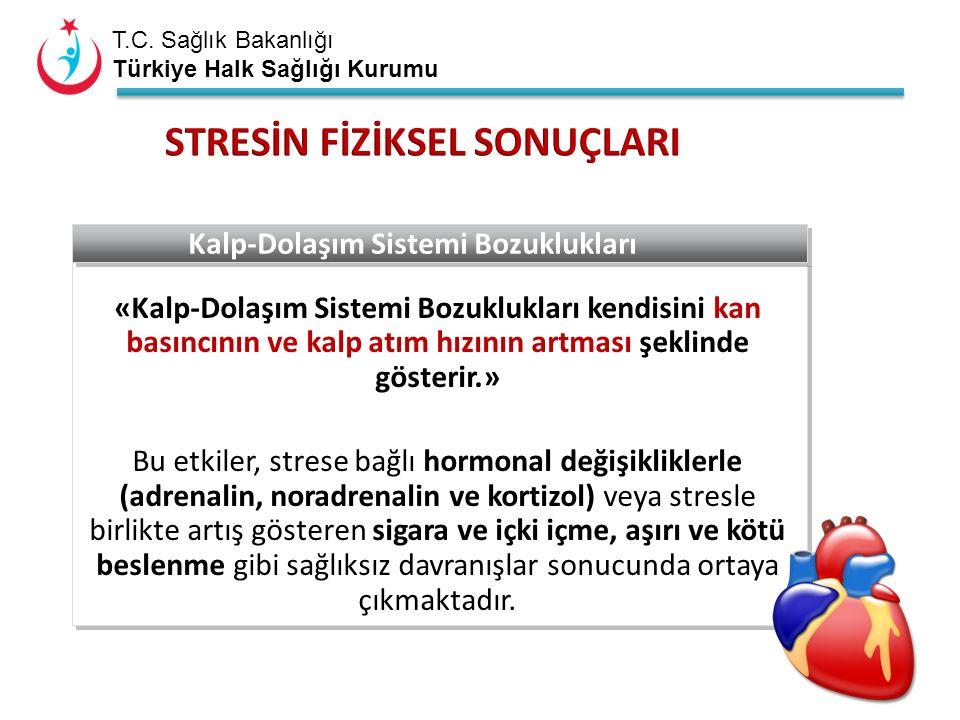 T.C. Sağlık Bakanlığı Türkiye Halk Sağlığı Kurumu «Kalp-Dolaşım Sistemi Bozuklukları kendisini kan basıncının ve kalp atım hızının artması şeklinde gö