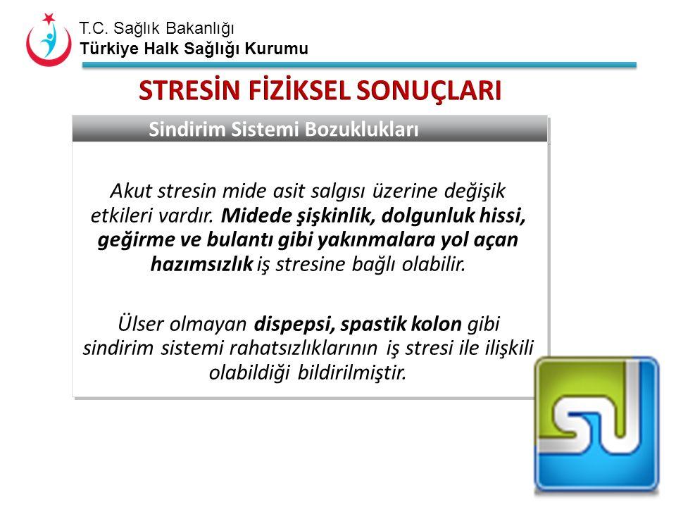 T.C. Sağlık Bakanlığı Türkiye Halk Sağlığı Kurumu Sindirim Sistemi Bozuklukları Akut stresin mide asit salgısı üzerine değişik etkileri vardır. Midede