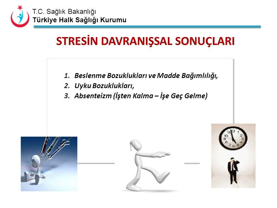 T.C. Sağlık Bakanlığı Türkiye Halk Sağlığı Kurumu 1.Beslenme Bozuklukları ve Madde Bağımlılığı, 2.Uyku Bozuklukları, 3.Absenteizm (İşten Kalma – İşe G