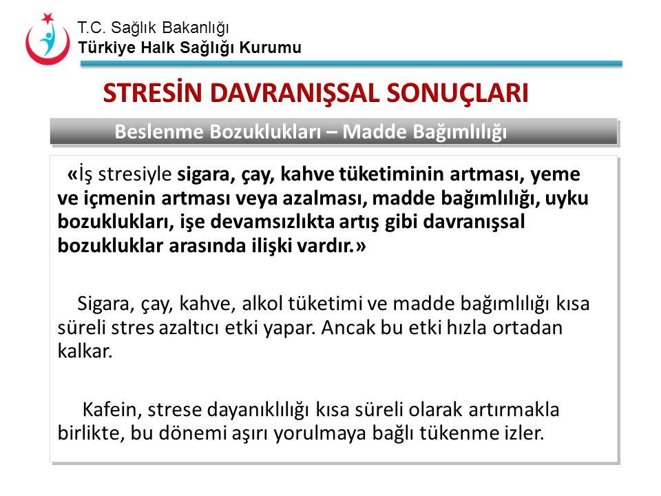 T.C. Sağlık Bakanlığı Türkiye Halk Sağlığı Kurumu Beslenme Bozuklukları – Madde Bağımlılığı «İş stresiyle sigara, çay, kahve tüketiminin artması, yeme