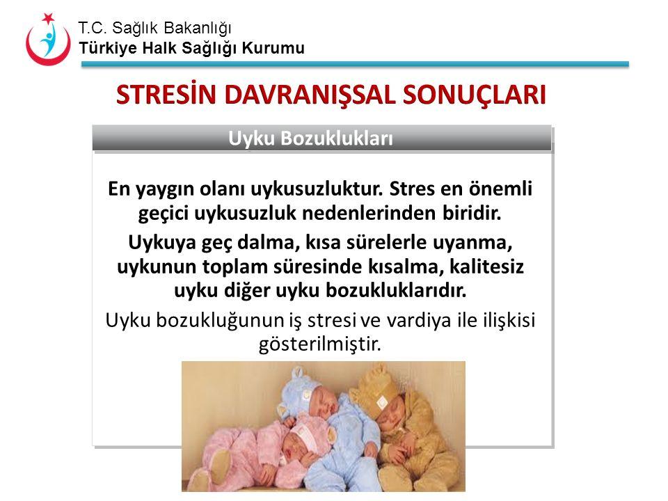 T.C. Sağlık Bakanlığı Türkiye Halk Sağlığı Kurumu En yaygın olanı uykusuzluktur. Stres en önemli geçici uykusuzluk nedenlerinden biridir. Uykuya geç d