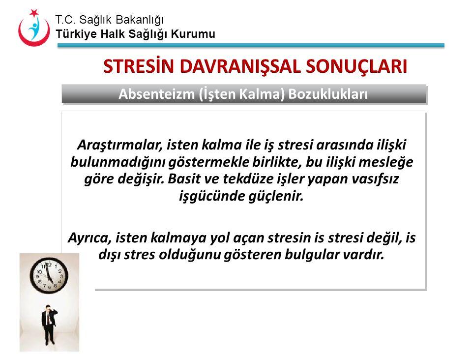 T.C. Sağlık Bakanlığı Türkiye Halk Sağlığı Kurumu Araştırmalar, isten kalma ile iş stresi arasında ilişki bulunmadığını göstermekle birlikte, bu ilişk
