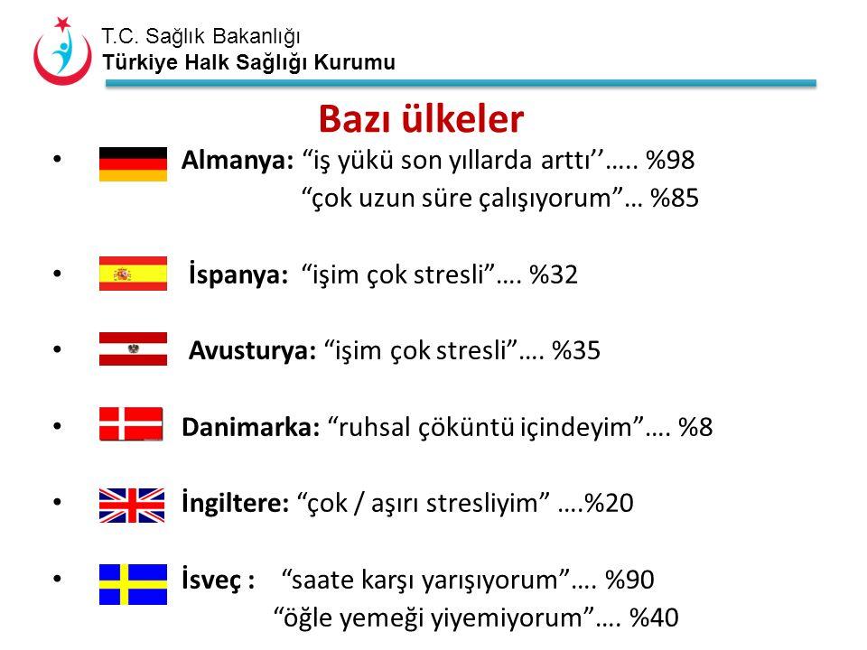 """T.C. Sağlık Bakanlığı Türkiye Halk Sağlığı Kurumu Bazı ülkeler Almanya: """"iş yükü son yıllarda arttı''….. %98 """"çok uzun süre çalışıyorum""""… %85 İspanya:"""