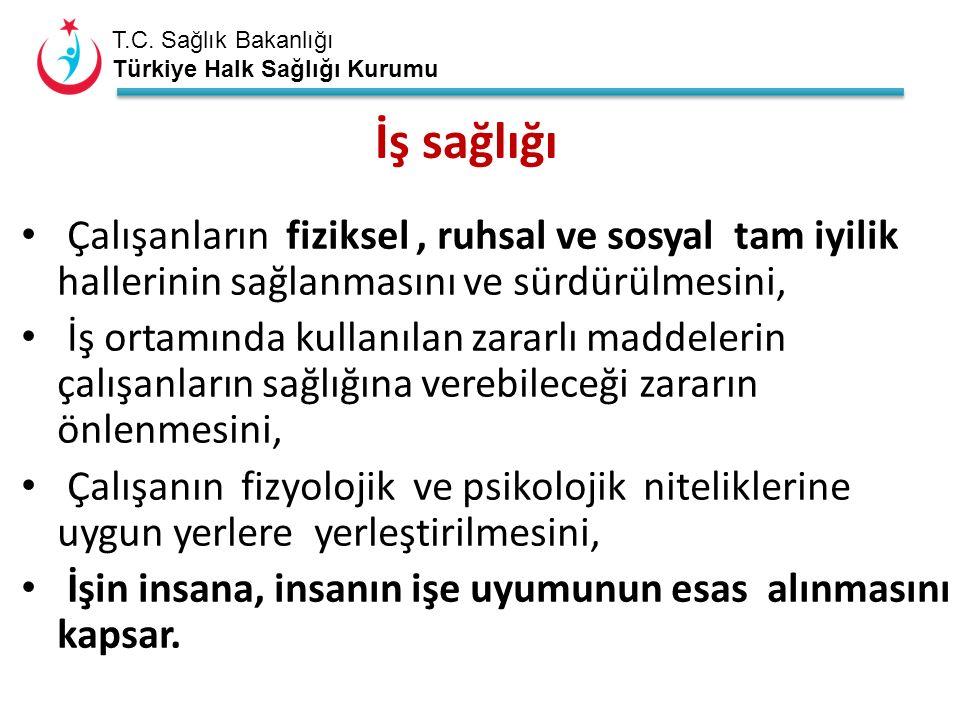 T.C. Sağlık Bakanlığı Türkiye Halk Sağlığı Kurumu Çalışanların fiziksel, ruhsal ve sosyal tam iyilik hallerinin sağlanmasını ve sürdürülmesini, İş ort