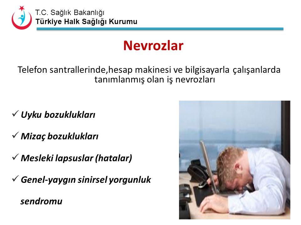 T.C. Sağlık Bakanlığı Türkiye Halk Sağlığı Kurumu Nevrozlar Telefon santrallerinde,hesap makinesi ve bilgisayarla çalışanlarda tanımlanmış olan iş nev