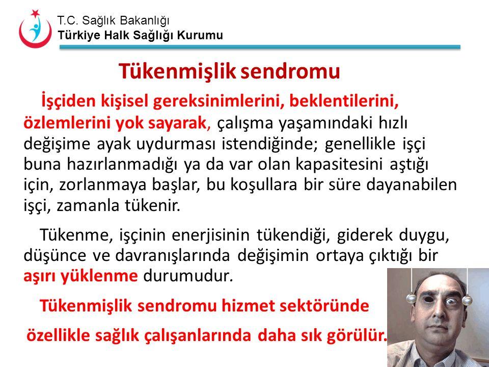 T.C. Sağlık Bakanlığı Türkiye Halk Sağlığı Kurumu Tükenmişlik sendromu İşçiden kişisel gereksinimlerini, beklentilerini, özlemlerini yok sayarak, çalı