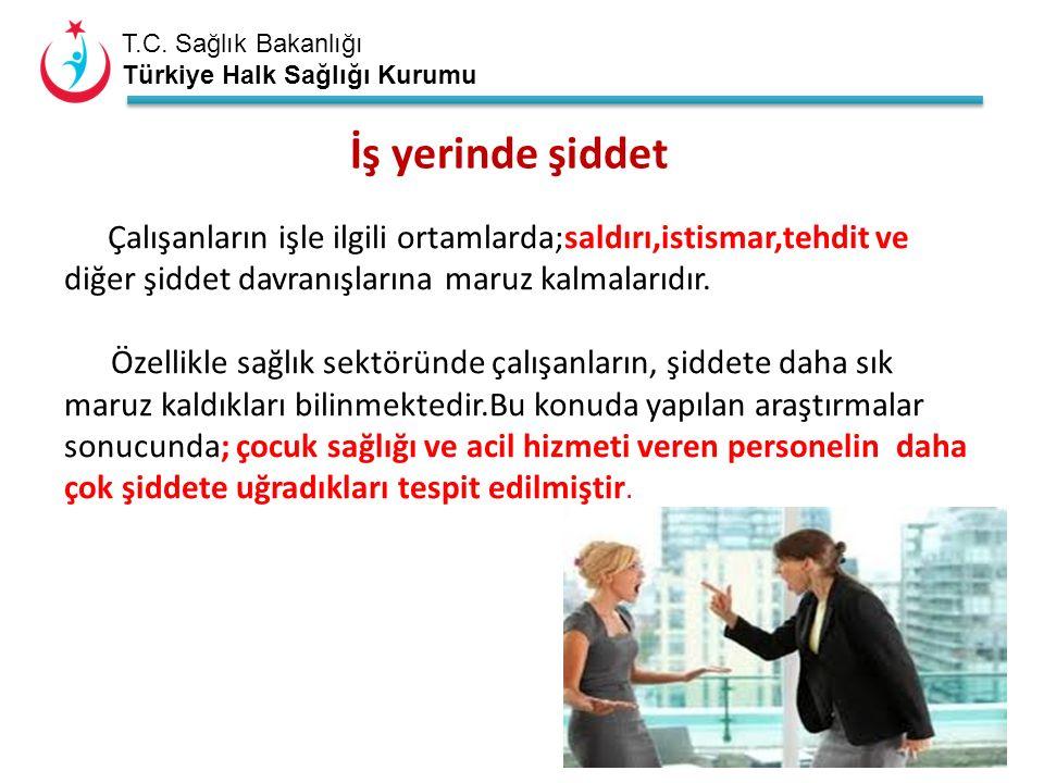 T.C. Sağlık Bakanlığı Türkiye Halk Sağlığı Kurumu İş yerinde şiddet Çalışanların işle ilgili ortamlarda;saldırı,istismar,tehdit ve diğer şiddet davran