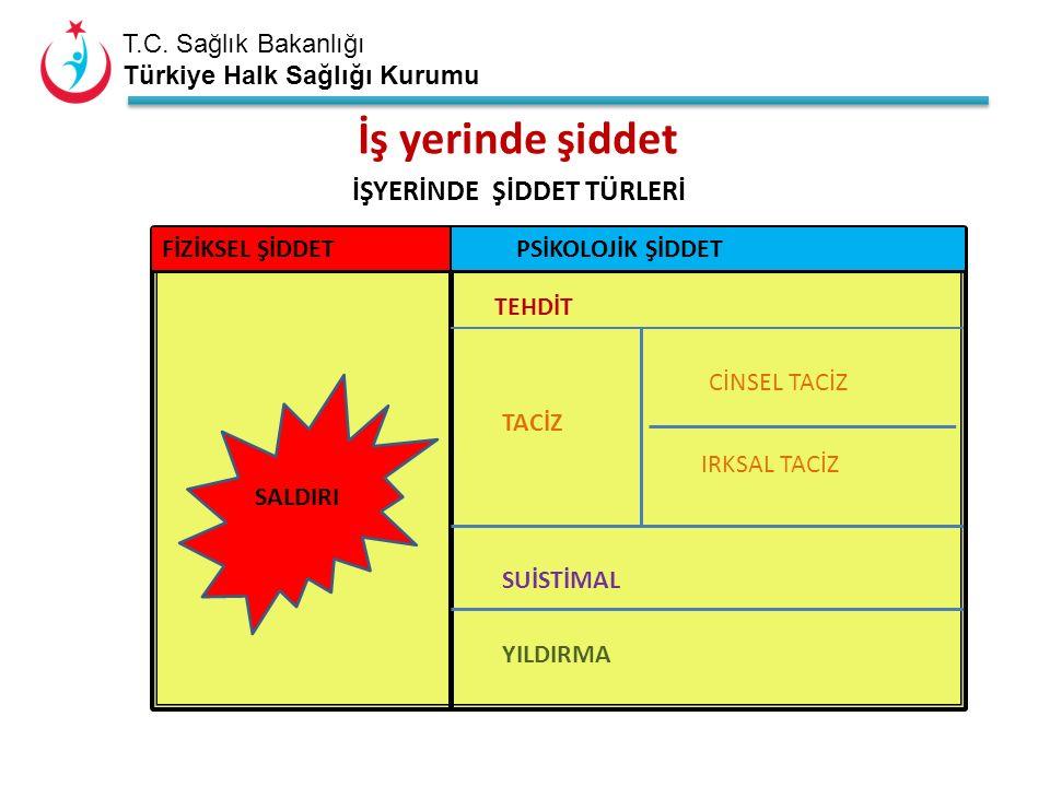 T.C. Sağlık Bakanlığı Türkiye Halk Sağlığı Kurumu İŞYERİNDE ŞİDDET TÜRLERİ FİZİKSEL ŞİDDET PSİKOLOJİK ŞİDDET TEHDİT TACİZ CİNSEL TACİZ IRKSAL TACİZ SU