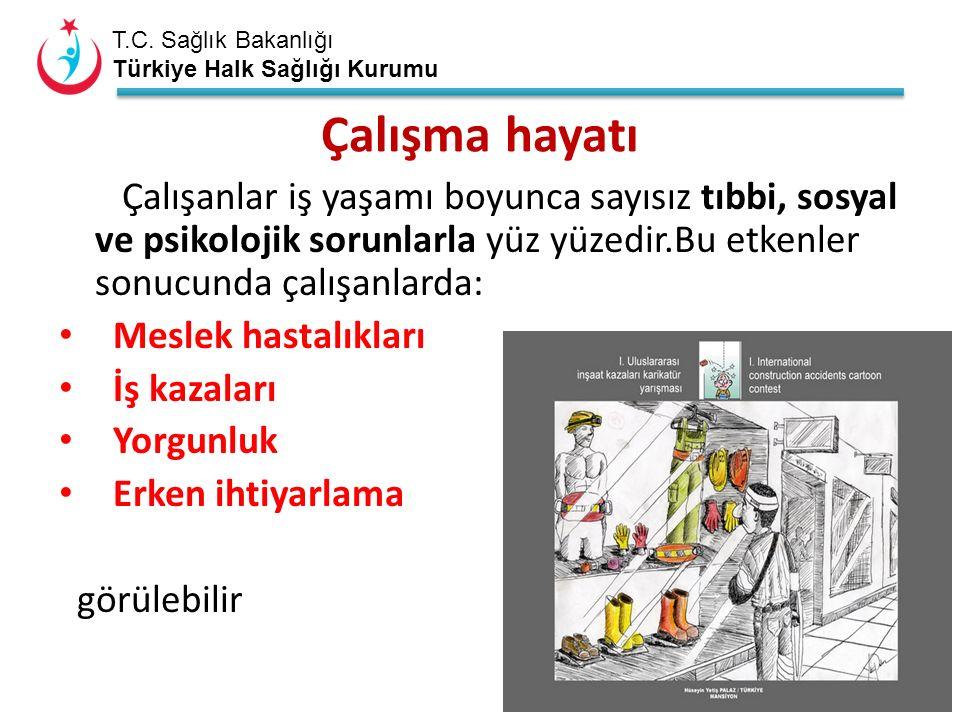 T.C. Sağlık Bakanlığı Türkiye Halk Sağlığı Kurumu Çalışma hayatı Çalışanlar iş yaşamı boyunca sayısız tıbbi, sosyal ve psikolojik sorunlarla yüz yüzed