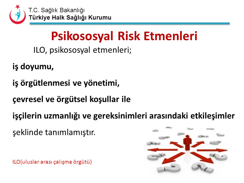 T.C. Sağlık Bakanlığı Türkiye Halk Sağlığı Kurumu ILO, psikososyal etmenleri; iş doyumu, iş örgütlenmesi ve yönetimi, çevresel ve örgütsel koşullar il