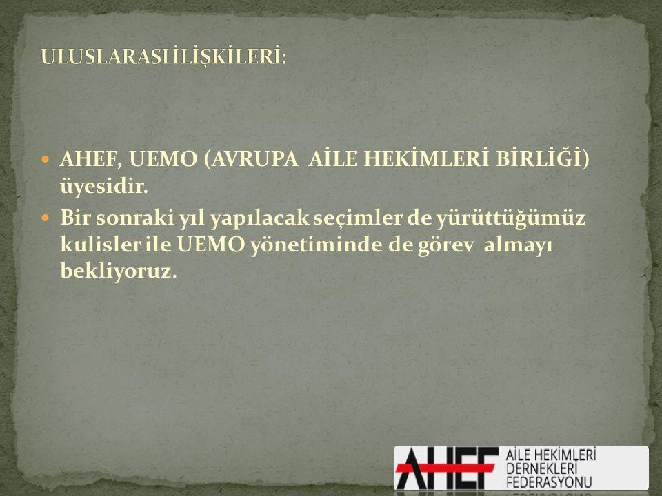 AHEF, UEMO (AVRUPA AİLE HEKİMLERİ BİRLİĞİ) üyesidir.