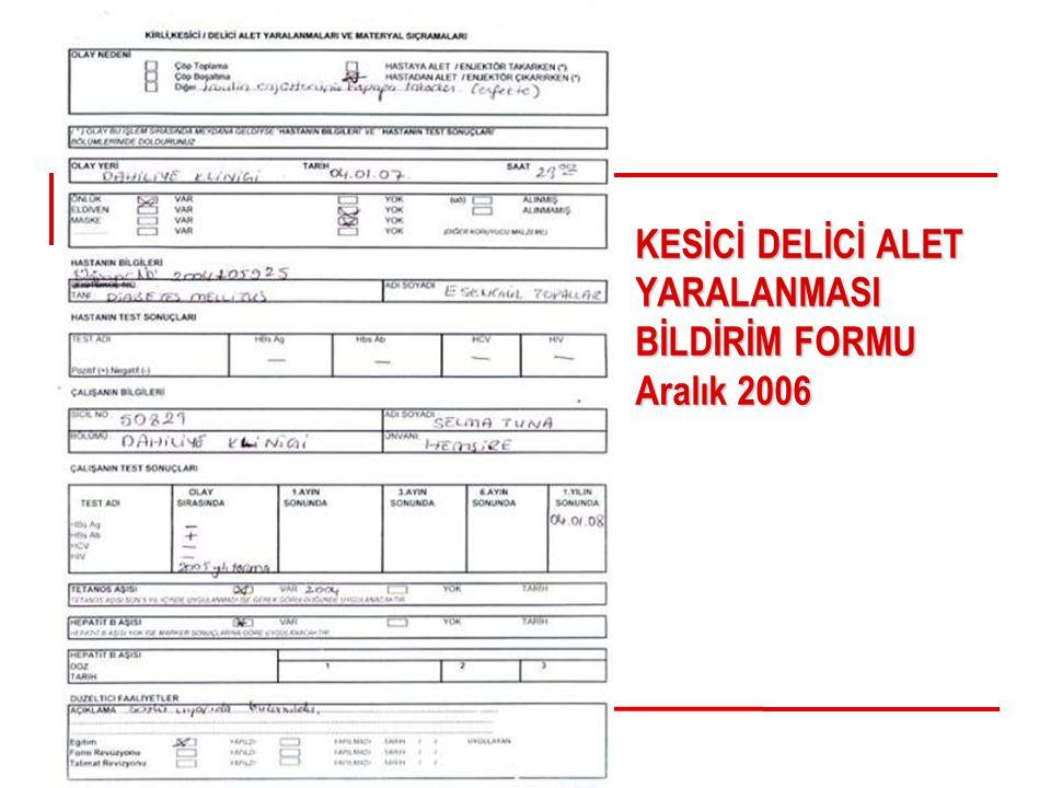 KESİCİ DELİCİ ALET YARALANMASI BİLDİRİM FORMU Aralık 2006