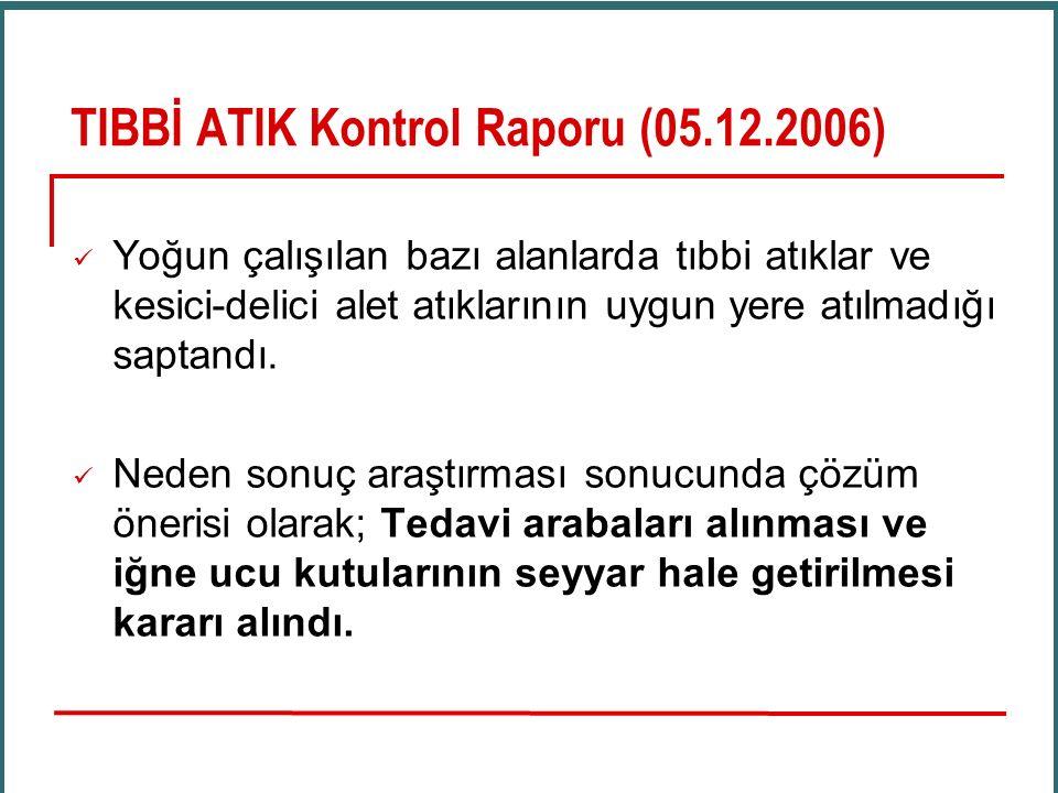 TIBBİ ATIK Kontrol Raporu (05.12.2006) Yoğun çalışılan bazı alanlarda tıbbi atıklar ve kesici-delici alet atıklarının uygun yere atılmadığı saptandı.
