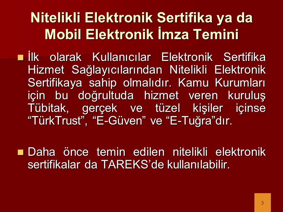 3 Nitelikli Elektronik Sertifika ya da Mobil Elektronik İmza Temini İlk olarak Kullanıcılar Elektronik Sertifika Hizmet Sağlayıcılarından Nitelikli Elektronik Sertifikaya sahip olmalıdır.