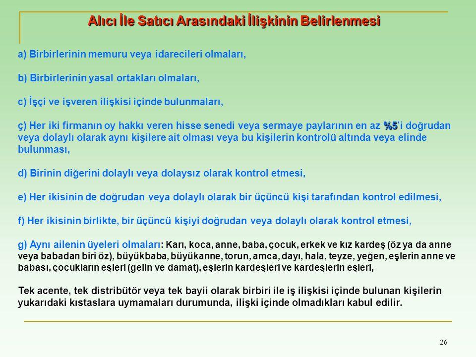 26 a) Birbirlerinin memuru veya idarecileri olmaları, b) Birbirlerinin yasal ortakları olmaları, c) İşçi ve işveren ilişkisi içinde bulunmaları, %5 ç)