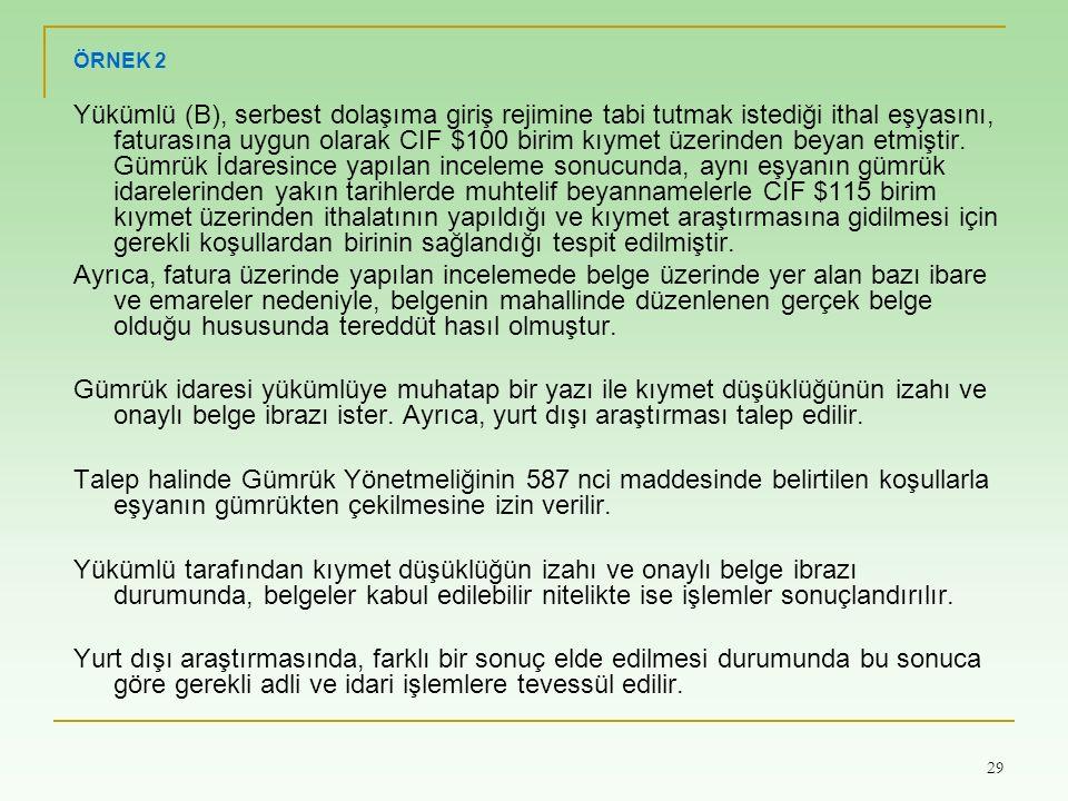 29 ÖRNEK 2 Yükümlü (B), serbest dolaşıma giriş rejimine tabi tutmak istediği ithal eşyasını, faturasına uygun olarak CIF $100 birim kıymet üzerinden b