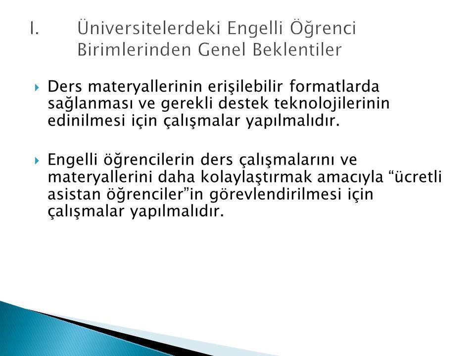 I. Üniversitelerdeki Engelli Öğrenci Birimlerinden Genel Beklentiler  Ders materyallerinin erişilebilir formatlarda sağlanması ve gerekli destek tekn