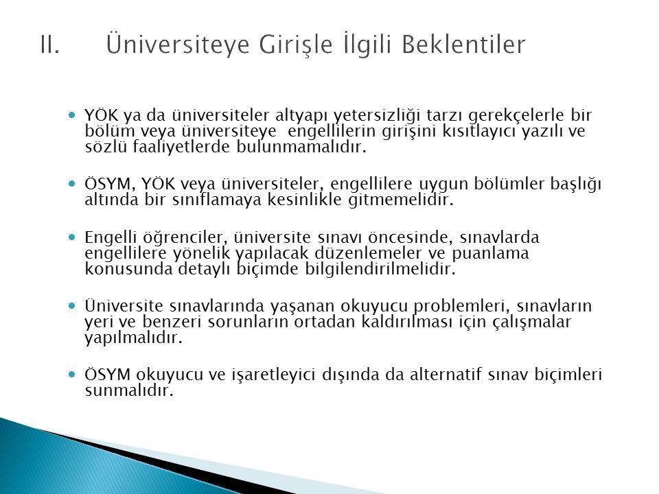 II. Üniversiteye Girişle İlgili Beklentiler  YÖK ya da üniversiteler altyapı yetersizliği tarzı gerekçelerle bir bölüm veya üniversiteye engellilerin