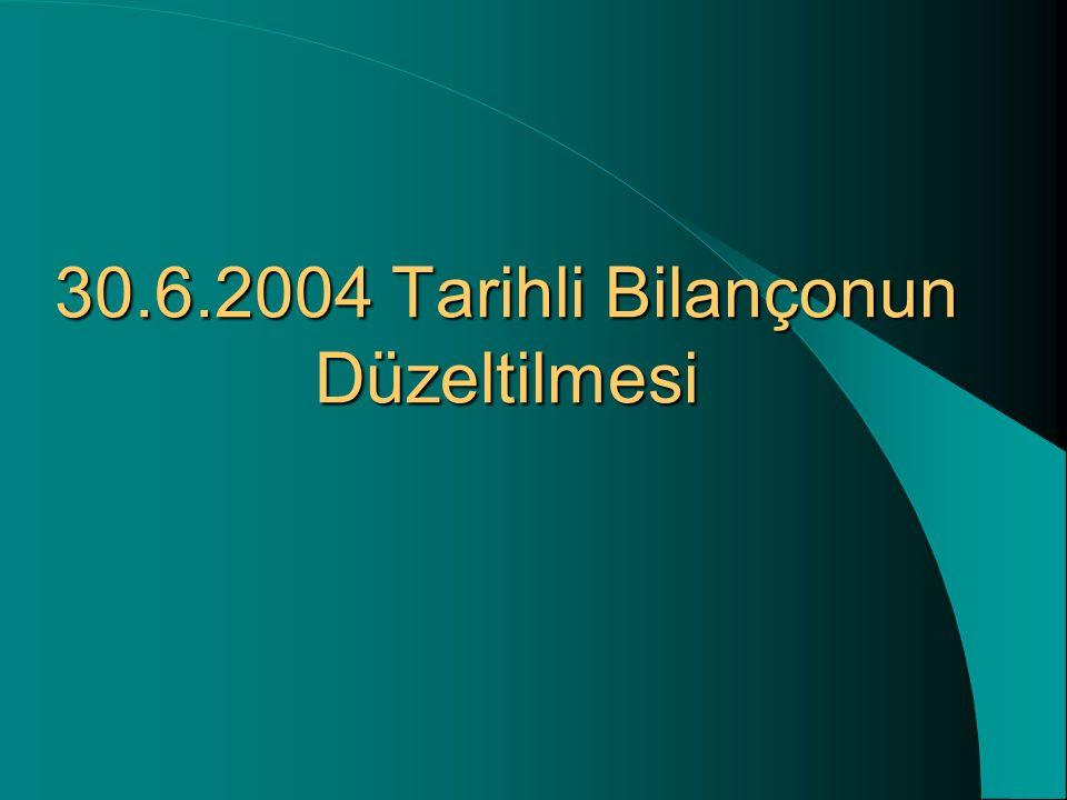 30.6.2004 Tarihli Bilançonun Düzeltilmesi