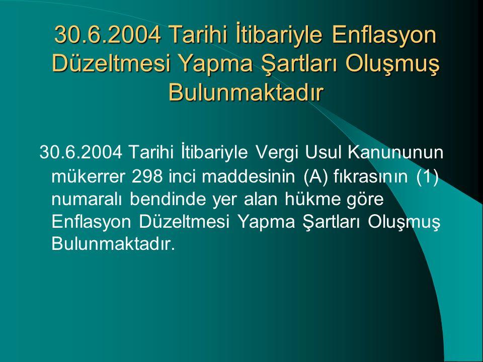 30.6.2004 Tarihi İtibariyle Enflasyon Düzeltmesi Yapma Şartları Oluşmuş Bulunmaktadır 30.6.2004 Tarihi İtibariyle Vergi Usul Kanununun mükerrer 298 in