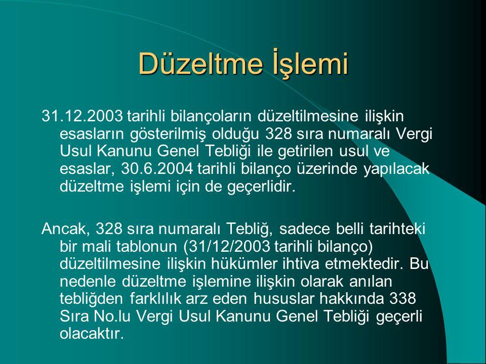 Düzeltme İşlemi 31.12.2003 tarihli bilançoların düzeltilmesine ilişkin esasların gösterilmiş olduğu 328 sıra numaralı Vergi Usul Kanunu Genel Tebliği